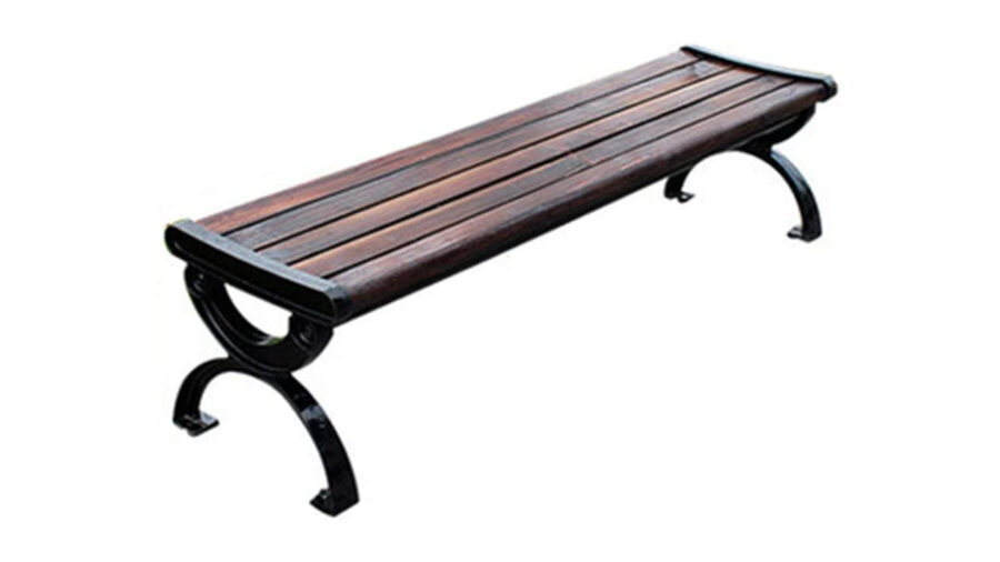 banco de hierro y madera sin respaldo
