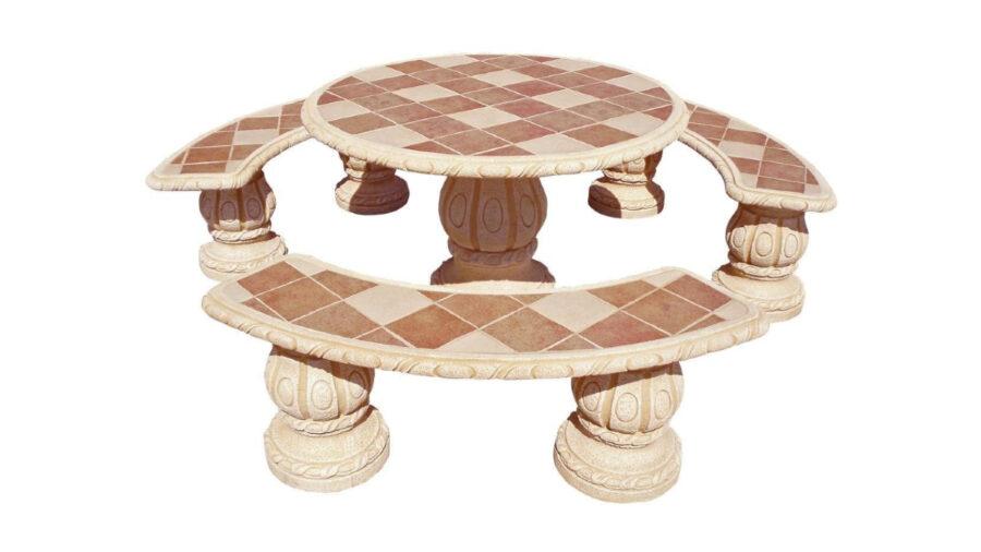 mesa y banco de piedra para jardín
