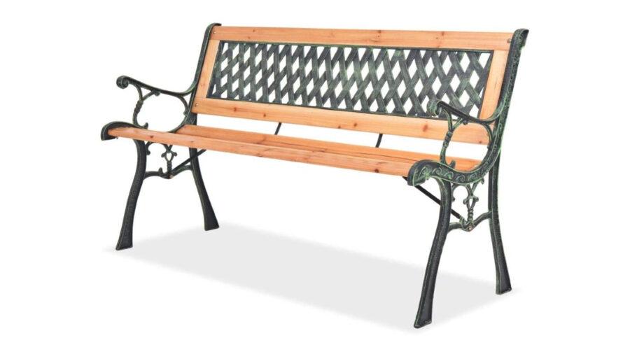 bancos de hierro y madera para jardin