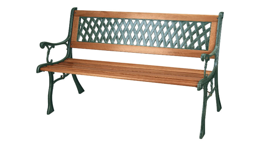 banco de hierro y madera para jardín