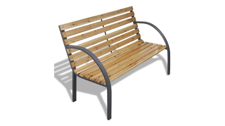 banco de hierro fundido y madera